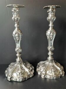 PAIR TALL ANTIQUE GEORGIAN ENGLISH STERLING SILVER CANDLESTICKS WILLIAM ABDY
