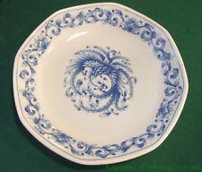 Assiette en porcelaione blanc et bleu Paon en majesté 19 cm de diamètre