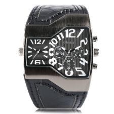 OULM Dual Time Zone Big Dial Leather Strap Men Army Quartz Wrist Watch Bracelet