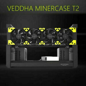VEDDHA 6 GPU Miner Case T2 Edition 6BAY Stackable Frame Mining Open Standard Rig