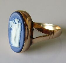 Art Deco 9ct Rose Gold Wedgwood Blue & White Jasper Cameo Ring Size R.