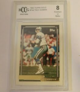 1992 Topps Gold Troy Aikman #744 BCCG 8