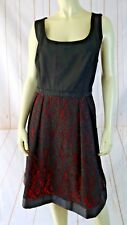 Luxe Carmen Marc Valvo Dress 16W New Black Red Lace Skirt Beaded Waist Party