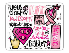 "9""x7"" MOUSE PAD - Breast Cancer Awareness 4 Find Cure Pink Women Tatas Survivor"