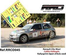 DECAL/CALCA 1/43; Renault Clio Maxi; Callen-Vallespin; Rally Open d'Avia 2008