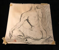 Vintage Original Nude Male Figure Study Ink Gesture Drawing Mannerism Mader