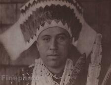 1900/72 Photogravure NATIVE AMERICAN INDIAN Tolowa Headdress EDWARD CURTIS 11x14