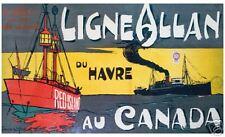 VINTAGE Canadian ART PRINT POSTER - Ligne Allan Canada