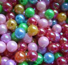100 x round acrylic AB coated childrens beads 8mm A92