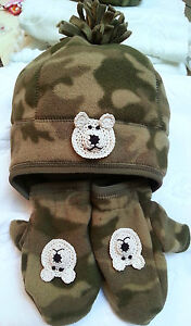 CAMOUFLAGE FLEECE HAT MITTENS SET BOYS BABY TODDLER 3 6 12 MONTHS 1 2 3 4 YEARS