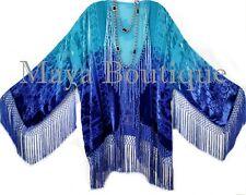 Wearable Art Silk Burnout Velvet Fringe Jacket Flapper Style Hand Dyed Maya Plus