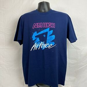 Vintage Air Force Aim High Graphic Single Stitch S/S T-Shirt Navy Blue Pink  XL