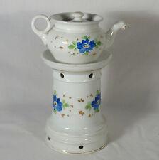 Tisanière veilleuse Ancienne fin XIX / début XXème porcelaine décor peint fleurs