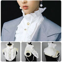 Women Retro French Neck Fake Collar Mujer Detachable Half Blouse Gold Buttons