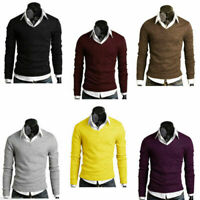 V-neck Pullover Sweater Long Fit Slim Winter Mens Sleeve Knitted Casual Top Warm