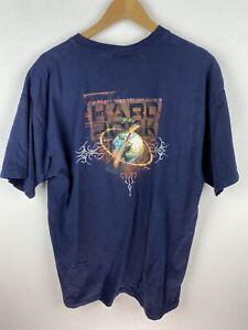Hard Rock Cafe Cayman Islands Mens T Shirt Size XL Double Graphics Print Blue
