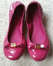 Tory Burch Eddie Flats Bow Patent Leather Fuchsia size 5
