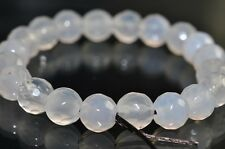 20 Pieces Milky White AGATE CHALCEDONY Faceted Round Beads - I0940