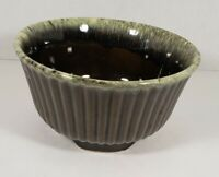 "Vintage Hull Pottery USA Green Brown Drip Glaze Bowl Planter 6.5"" Diameter"