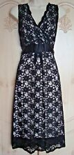 NEXT NUDE BLACK LACE CROSSOVER V-NECK SLEEVELESS DRESS WITH SATIN TIE, 16 - BNWT