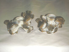 OUTSTANDING HAND CRAFTED PAIR CERAMIC CANDLE HOLDERS BIRDS SPARROWS HEAVY GLOSS