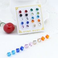 Lots 10Pairs Chic Women Girls Rhinestone Crystal Cube Ear Stud Jewelry New Gift