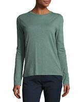 New Vince Slub Crew Neck Long Sleeve Top Tee Shirt Green Sea Glass S Small
