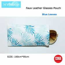 Faux Leather Sunglass Eyeglass Glasses Case Soft Pouch Snap Shut - Blue Leaves