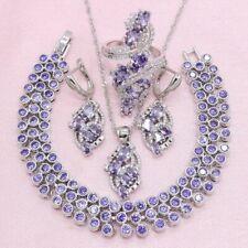 Purple Amethyst Jewelry Set 925 Silver Small Multiple Stones Bracelet Ring
