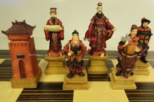 "ORIENTAL THREE KINGDOMS Chess Men Set 3 3/4"" King - NO BOARD"