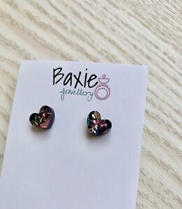Kaleidoscope Glitter Acrylic Love Heart Stud Earrings, Valentine, Surgical Steel