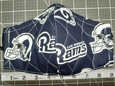 1 Triple Layer Quilted Cotton Fabric Face Mask w/ Nose Wire Nfl Los Angeles Rams