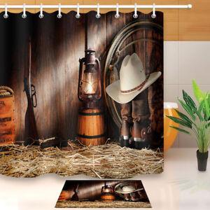 Fabric Shower Curtain Set Bath Mat Western Cowboy Lantern Gun Boots Rustic Straw