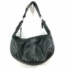 Coach Hobo Shoulder Bag Black Leather Women's Medium Size Handbag
