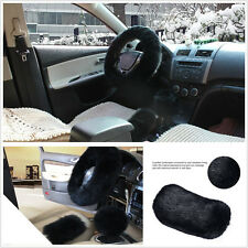 3 Pcs Black Fluffy Fur Wool Car Steering Wheel Cover&Hand Brake&Gear Knob Covers