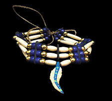 Three Row Bone Hairpipe Choker with Dark Blue Beads and Feather _ Sioux Handmade
