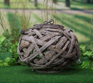 Holz Laterne mittel für Garten Dekoration Gartenleuchte Windlicht Kugel