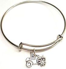 Tractor Bangle Bracelet, Tractor Charm, Tractor Pendant, Farmer Gift
