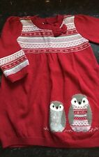 MONSOON Red Warm Long Sleeve Dress 6-12months Baby Girl FAB PENGUIN