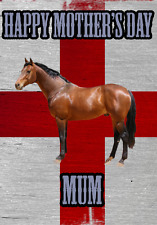 Horse St George Flag Happy Mother's Day Card chmd191 A5 Personalised Greetings