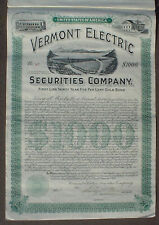 Vermont Electric Securities 30 Year 5% Gold Bond uncancelled + coupon sheet