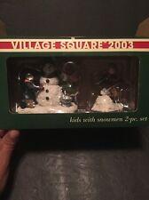 MERVYN'S VILLAGE SQUQRE 2003. KIDS WITH SNOWMEN 2-PC. SET