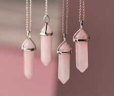 Rose Quartz Point Pendant Gemstone Natural Stone Love Heart Chakra Necklace
