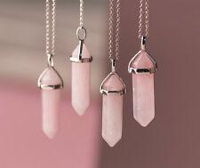 Rose Quartz Point Pendant Gemstone Natural Stone Love Heart Chakra Necklace