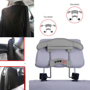 Car Seat Headrest Hanger Clothes Rack Steel Coat Jacket Suits Shirts Holder Gray