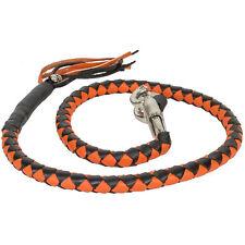 Motorcycle Get Back Whip Leather 42 Inch Long Orange Black Harley Universal