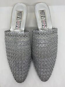 Mootsies Tootsies Silver Heels Mules Slip On Shoes  Size 8.5 M