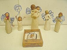 Lot of 6 Willow Tree Figurines : Angel's Embrace, Birthday Girl, Angel of song