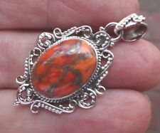 Fab Filigree Sterling Silver and Silver Filled Orange Turquoise Pendant