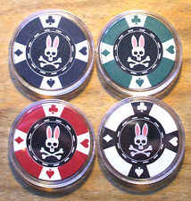 4 - Psycho Bunny Poker Chip Golf Ball Markers - Sample Set
